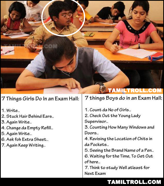 7 things girls and boys do in exam hall