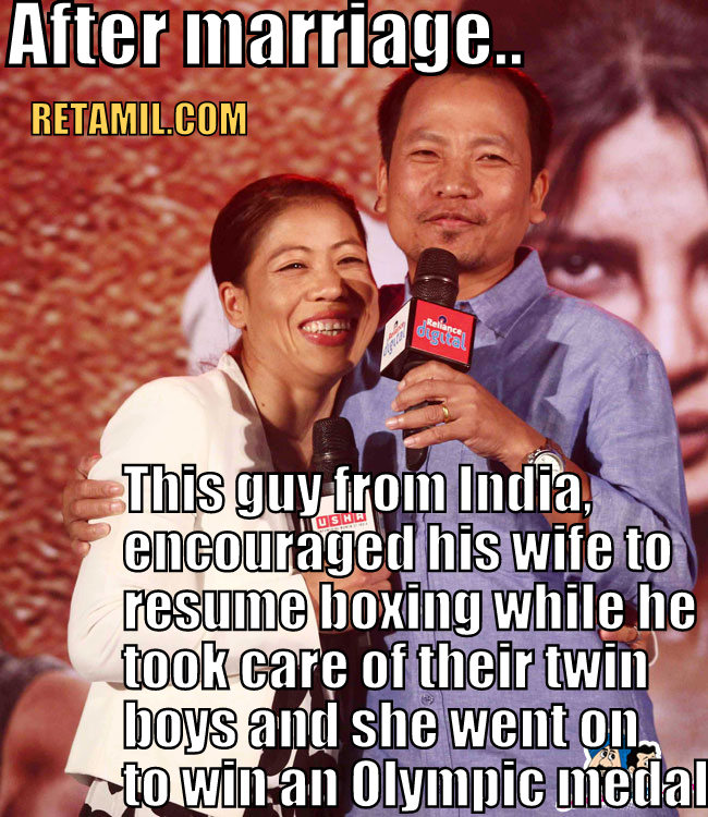 Onler Kom, husband of Mary Kom, India's woman boxer. My respect for this man is immense. He is behind his wife's success.