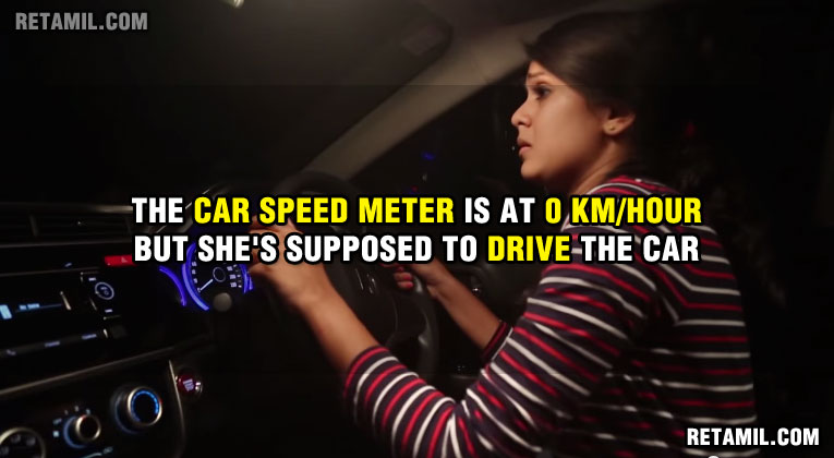 The car speed meter is at 0 KM/H